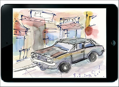 Hamburg - St.Pauli (rafaelmucha) Tags: auto street urban apple car paper sketch hamburg mini stpauli wacom aquarell intuos ipad