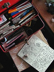 photography challenge 2/9 'hobbies' (Stephanie Distler) Tags: moleskine doodle pens calligraphy micron moleskin photochallenge sketchkit