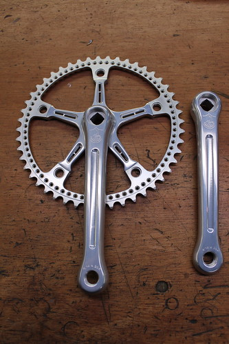 Pista crankset is milled and profiled and re anodized, drilled chainring