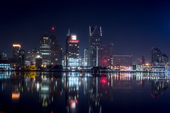 Detroit Skyline (Mike Swiech) Tags: winter cold skyline night river lights nikon neon michigan detroit windsor detroitriver windsorontario detroitskyline gmbuilding 50mmf18g mikeswiech mikeswiechphotography