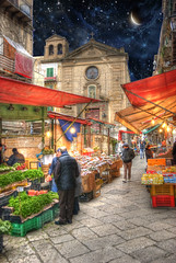 Palermo Sicily Market Place (Cat Girl 007) Tags: city travel italy food color building church architecture facade shopping photography cuisine colorful europe european market scenic lifestyle medieval historic sidewalk photograph destination sicily palermo hdr explored italianculture touristresort moonseclipsegallery29