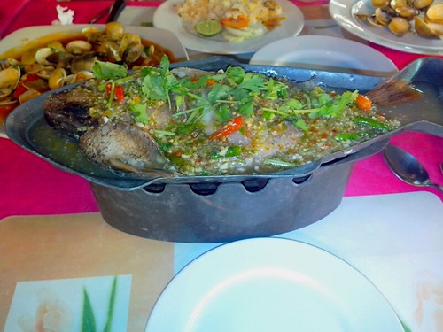 Steamed Red Snapper With Garlic, Chili And Lime Juice @ Big Wave Seafood