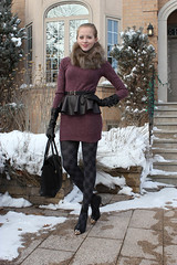 mauve dress and black accessories (Natalie Ast) Tags: black love leather scarf fur grey belt vegan outfit shoes warm purple 21 style joe tights blogger fresh fox mauve forever phillip collar fleece moschino 31 lim stilettos patterned pleather foxfur danier peplum ootd go0ld pashli nowistyle