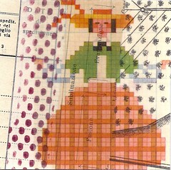 big skirt orange (kurberry) Tags: collage crossstitch ephemera tissuepaper tracingpaper magazinepages bookpages vintageephemera bookbindingteam