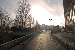 Bus Journey through Little London (Saturated Imagery) Tags: morning bus sunrise leeds wideangle journey contrejour dlsr littlelondon sigma1020mmf35 canoneos60d photoshopelements9