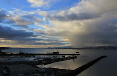 rain on rosyth (hockadilly) Tags: sky water rain clouds river shower boat harbour firthofforth sleet portedgar newforthcrossing