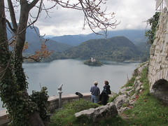 Lake and island view from Bled Castle, Slovenia (Paul McClure DC) Tags: people lake castle architecture scenery historic slovenia bled slovenija oct2012