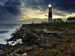 Portland Bill, England, UK (Beardy Vulcan) Tags: winter sunset sea england lighthouse portland coast twilight rocks day cloudy january beam dorset obelisk bluehour rugged trinityhouse portlandbill 2013