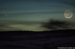 IMGP3153 (Matt_Burt) Tags: sky moon snow night clouds spring crescent comet panstarrs
