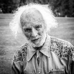 I have lived my life (the old cowboy) [Explore #25] (Richard Larssen) Tags: old bw white man black norway shirt hair beard norge cowboy sony richard wrinkles rugged a77 larssen