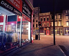 Smitty's Mens & Boys (EvenShift///3) Tags: street longexposure shadow ohio 120 film night shoes cincinnati clothes mens oh overtherhine mamiya7