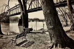 Freeport, PA (JayCass84) Tags: wood bridge trees blackandwhite bw tree nature water beautiful train river bench woods awesome country bridges trainbridge instagram instagramapp