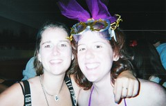 Bethany and Amy (Area Bridges) Tags: 2001 nyc newyorkcity party newyork film paper print golden costume amy pentax bethany scan september scanned williamsburg rave september2001 mesuper bethanygolden