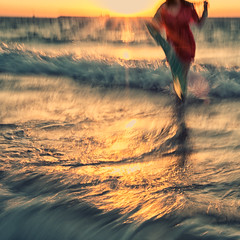 in the ocean of her imagination~ Dubai (~mimo~) Tags: life longexposure sunset sea woman blur color water girl walking square photography dubai slow uae unknown imagination partial mimokhair mpm2013r3win