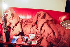 (deanmackayphoto) Tags: 50couchesin50nights couch contax film filmisnotdead 35mm losangeles treehousemanor red leather lamp oriental japanese geisha bed blanket pillow comforter barebulb cellphone mobilephone flipphone coffee mug warm wallet vw volkswagen keys notepad pad pen eyemask sleepmask change bottleopener opener chapstick lipbalm almonds nuts coffeetable sunglasses
