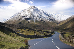 (E.Hunt.) Tags: lake district mountains snow capped peaks winding road tarmac spring chill natural world nature