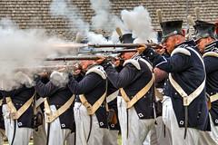 Firing Line 3s (Greg Riekens) Tags: musket usa gunsmoke smoke soldiers history stpaul military gun fortsnelling minnesota