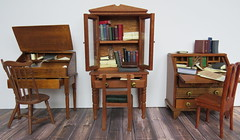 Miniature Writing Desks (Foxy Belle) Tags: miniature dollhouse book colonial wooden accessories office make ooak handamde 112 handmade writing desk