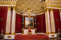 2016 - Baltic Cruise - St. Petersburg - Hermitage 5 (Ted's photos - For Me & You) Tags: 2016 cropped tedmcgrath tedsphotos vignetting russia ussr stpetersburg hermitage museum hermitagethroneroom hermitagestgeorgeshall throne redcarpet columns