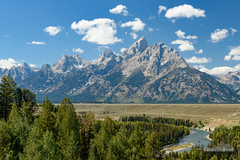 Snake River Rafters (kevin-palmer) Tags: nationalpark wyoming september fall autumn tamron2470mmf28 nikond750 sunny blue sky snakeriver anseladams overlook grandtetons mountains scenic view circularpolarizer clouds