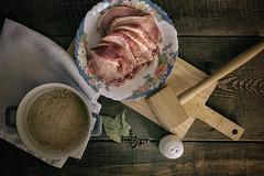 Bardzo martwa natura. (Tomasz Aulich) Tags: pork pepper wood board meatmallet food spices vintage saltcellar salt nikon nikkor colour cloth indoor hellskitchen pot kitchen still life stilllife
