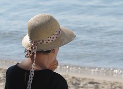 """I go or not?!..."" (nathaliedunaigre) Tags: mer sea mditerrane juanlespins people personne hat chapeau plage beach femme woman ctedazur frenchriviera portrait horssaison"