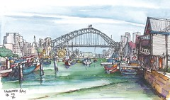 Lavender Bay - Sydney Harbour (panda1.grafix) Tags: sydneyharbour lunapark seascape brettwhitely pencilinkwash