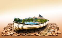 Atelier2 - O barco (Carlos Atelier2) Tags: atelier2 barco seca deserto gua verde arvores cor pastel surreal ao ar livre embarcao