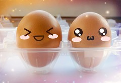 Happy Eggs (eleonoralbasi) Tags: macromondays handlewithcare eggs sparkle food bokeh smiley happy kawaii emoticon