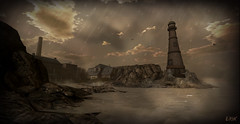 Rock Port Rain (erikmofanui) Tags: secondlifephotography secondlifelandscape landscape lighthouse ocean rockyshore rain sea water