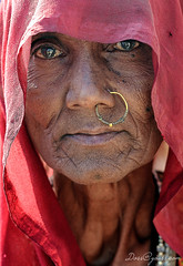 Bhil Woman, India (doss@yours) Tags: portrait woman india nose indian headscarf ring jewellery nosering sari rajasthan crowded mela bhil beneshwar dossyours