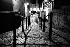 Night Ayr (Nick Lambert!) Tags: street blackandwhite bw scotland fuji ayr cobbles railings streetscape ayrshire cobbledstreets fujix100 fujinonasphericallens