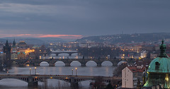 Twilight over Prague (fuerst) Tags: travel bridge sunset panorama twilight sonnenuntergang prague dusk prag praha tschechien czechrepublic dmmerung brcke vltava reise moldau