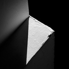 corner light (MyArtistSoul) Tags: light shadow urban bw white house abstract black texture wall corner square grey triangle interior gray plaster minimal shelf chip opticalillusion ventura zw 24105mmf4 0780