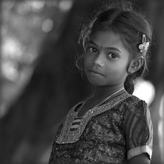 India. Rameswaram, softness.... (lalie sorbet) Tags: portrait india girl face canon square blackwhite eyes village child noiretblanc yeux squareformat enfant fille tamilnadu rameswaram visage inde regard eos60d mygearandme laliesorbet