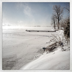 365: Day 36 (Richard Pilon) Tags: winter snow ontario canada ice fog river dock cornwall day36 stlawrenceriver iphone riverfog day36365 iphoneography hipstamatic 3652013 365the2013edition 36feb13