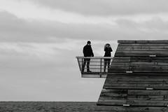 Taking pictures (Bemijoca) Tags: bridge sea blackandwhite bw woman man sweden baltic malmö västra hamnen