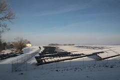 German countryside and a solar farm covered with snow (Marcus Wong from Geelong) Tags: vienna railroad travel train germany austria frankfurt rail railway deutschebahn ice3 europe2012