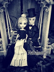 Once Upon a Time (Nataloons) Tags: blue white black love hat fashion monster lady vintage garden high couple doll dress handmade top victorian romance swing trellis tuxedo etsy gown gil webber mattel gentlemen dapper lagoona lagoonablue gillington monsterhigh gilwebber uploaded:by=flickrmobile flickriosapp:filter=nofilter jonnajonzon