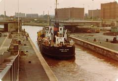 Bristol, Cumberland Basin 1982 (beareye2010) Tags: docks bristol 1982 lock 1980s swingbridge lockgates harrybrown dredger cumberlandbasin sanddredger harrybrownsanddredger