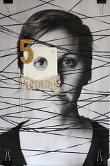 Lines (Hailey Lamb) Tags: white black print gold mixed media knit engineering tape scrap neutral cassete