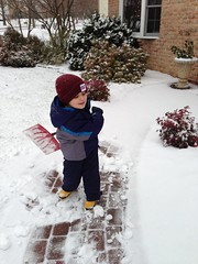 Dominic Shoveling the Walk