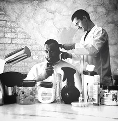 Me, Myself and the Barber (Laithmatic) Tags: blackandwhite bw man portraits work noir bandw bnw selfie bwbeauty bwlover