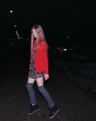 (abbsm) Tags: road street blue winter red orange cold cars film floral girl beautiful fashion night 35mm project dark hair fun grey student model eyes friend long university shoot darkness legs fierce top leg inspired freezing best sneakers nighttime blonde stunning chilly warmers blazer wedge edgy