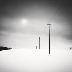 Telephone Line, Study 1 (Vesa Pihanurmi) Tags: winter blackandwhite white snow monochrome rural landscape grey artistic hill minimalism minimalistic sipoo telephoneline