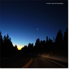 towards dawn ... (mariola aga ~ on vacation) Tags: road trip trees sky moon mountains car night forest square dawn lights twilight thegalaxy