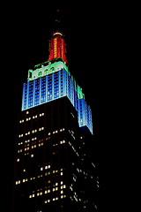 Colorful Empire State (baltoskins) Tags: city nyc newyorkcity travel red ny canon buildings colorful weekend saturday landmark historic rockefeller topoftherock eosrebel t3i greenandblue empirestatebuildingcolors