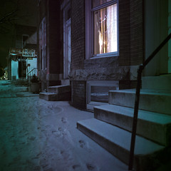 (patrickjoust) Tags: street city homes urban usa house snow color 120 6x6 tlr film sign night analog america corner dark lens us store reflex md focus long exposure mechanical cola market united release tripod north steps patrick twin shift maryland slide cable row baltimore chrome after medium format states manual rons damaged 55 expired joust coca e6 remington estados reversal unidos kodakektachrome64t 2013 mamiyac330s autaut expired2004 sekor55mmf45 patrickjoust