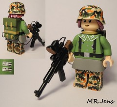 "Wehrmacht ""Nachtjgerin"" WWII LEGO (MR. Jens) Tags: world two night war uniform iron cross lego wwii skirt ww2 hunter stg heer 44 m44 wehrmacht mp44 brickarms nachtjger nachtjgerin bodypattern"