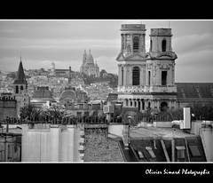 Saint-Sulpice et Sacr-Coeur (Olivier Simard Photographie) Tags: paris church architecture roofs sacrcoeur citylandscape glise saintsulpice toits paysageurbain nikond90 oliviersimardphotographie